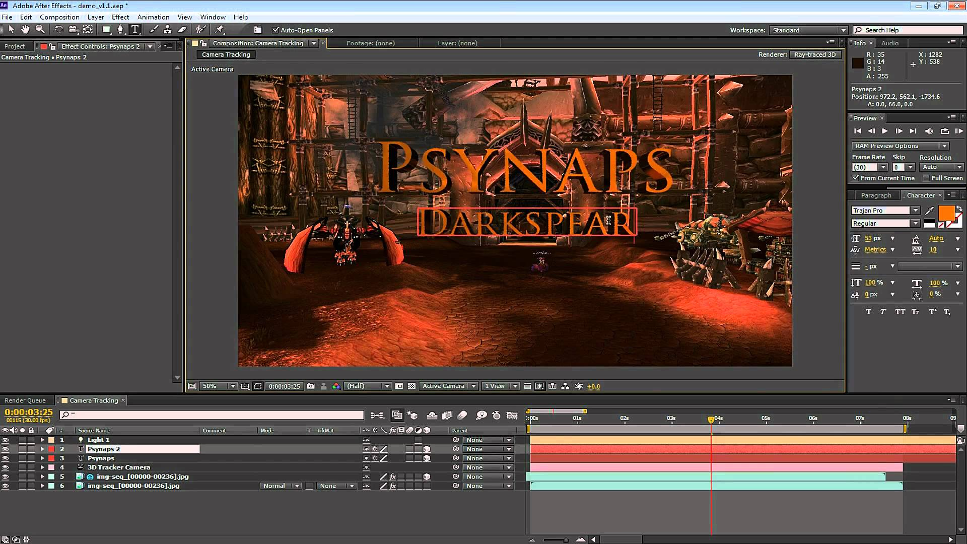 After Effects CS6+: 3D Camera Tracker and Ray-trace 3D – Project Download