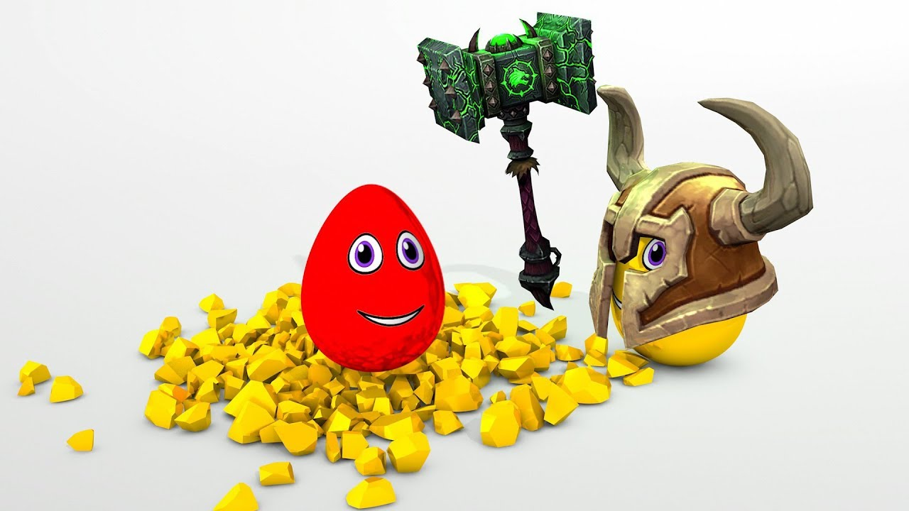 Learn Colors with Surprise eggs and WoW hammer 3D Cartoons for children Video for kids